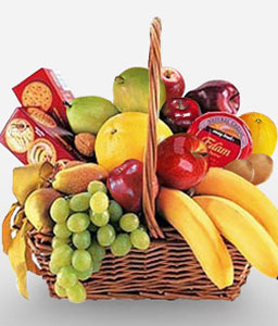 Cheese, Crackers & Fruit Basket-Chocolate,Fruit,Gourmet,Basket,Hamper