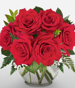 Yours Truly - Dozen Red Roses in Vase-Red,Rose,Arrangement