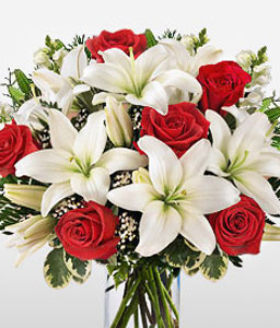 Stunning Beauty - Red Roses & White Lilies-Red,White,Lily,Rose,Arrangement