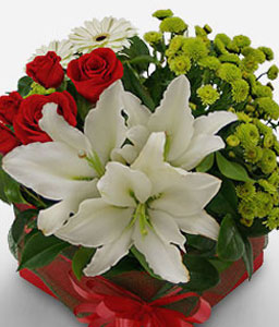 Magnificent-Green,Mixed,Red,White,Chrysanthemum,Lily,Mixed Flower,Rose,Arrangement