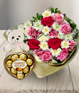 Kisses And Wishes-Pink,White,Carnation,Chocolate,Chrysanthemum,Mixed Flower,Rose,Teddy,Bouquet,Hamper