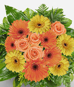 Sunset Boulevard-Mixed,Orange,Yellow,Daisy,Gerbera,Mixed Flower,Rose,Bouquet