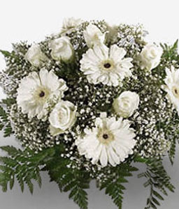 Winter Haven-White,Daisy,Gerbera,Rose,Bouquet