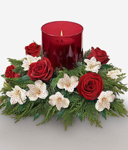 Brilliance of Noel-Green,Red,White,Rose,Candle,Centerpiece,Arrangement
