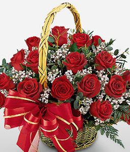 Ravishing Red Roses-Red,Rose,Arrangement,Basket
