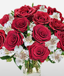 Juliets Fantasy-Mixed,Red,White,Alstroemeria,Mixed Flower,Rose,Bouquet