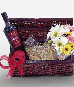 Paulista Avenue-Mixed,Mixed Flower,Wine,Basket,Hamper