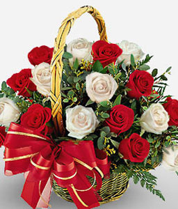Praia Mole - Red & White Roses Basket-Mixed,Red,White,Rose,Arrangement,Basket