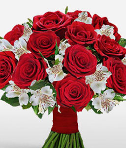 Rosy Chimes-Red,White,Alstroemeria,Rose,Bouquet