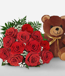 Cuddles Aboard <Font Color=Red>Sale $10 Off - One Dozen Roses & Teddy </Font>