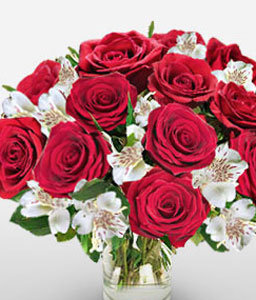 Memorable Moments-Mixed,Red,White,Alstroemeria,Mixed Flower,Rose,Arrangement