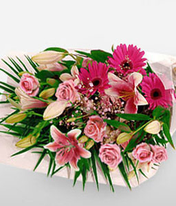 Strawberry Field-Pink,Daisy,Gerbera,Lily,Mixed Flower,Rose,Bouquet
