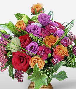 Akasaka Affluence-Mixed,Peach,Purple,Red,White,Rose,Bouquet