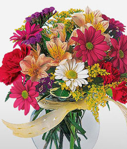 Thrills Of Joy-Mixed,Pink,Red,Mixed Flower,Gerbera,Daisy,Chrysanthemum,Carnation,Arrangement