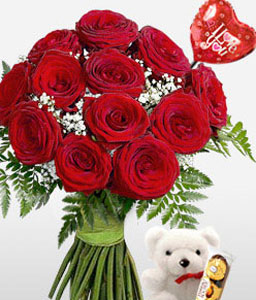Love Is In The Air-Red,Chocolate,Rose,Teddy Bear,Bouquet
