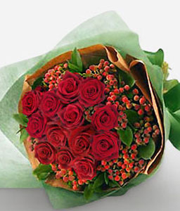 Crimson Love Blooms-Red,Rose,Bouquet