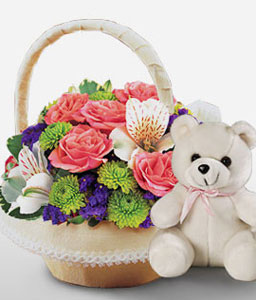 Biggu Houyou-Green,Peach,Purple,Mixed Flower,Rose,Teddy,Arrangement,Basket