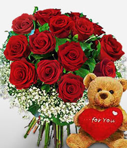 Loving Roses And Teddy-Red,Rose,Teddy,Bouquet