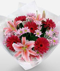 Peek A Boo-Pink,Red,Gerbera,Lily,Bouquet