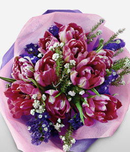 Moonlight Magnificence-Green,Pink,Tulip,Bouquet