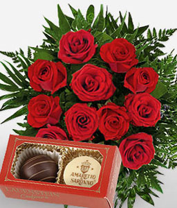 Rose n Chocolates Gift Combo-Green,Red,Rose,Chocolate,Bouquet