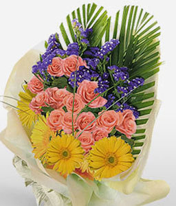Radiant Rhapsody-Blue,Mixed,Orange,Yellow,Daisy,Gerbera,Mixed Flower,Rose,Bouquet