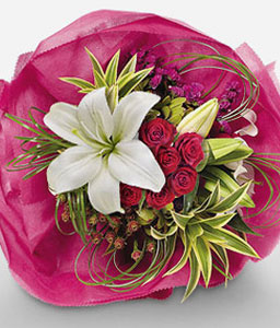 Duchess Of Blooms-Green,Mixed,Red,White,Lily,Mixed Flower,Rose,Bouquet