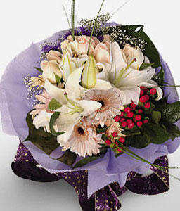 Satin Blush Bouquet-Peach,Pink,White,Lily,Gerbera,Daisy,Rose,Bouquet