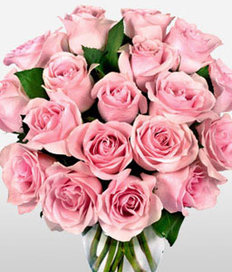 18 Pink Roses Bouquet-Pink,Rose,Bouquet