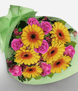 Makati-Pink,Yellow,Gerbera,Rose,Bouquet