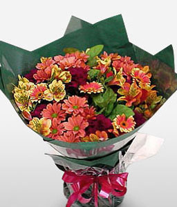 Glorious Bouquet-Mixed,Pink,Red,Yellow,Chrysanthemum,Gerbera,Bouquet