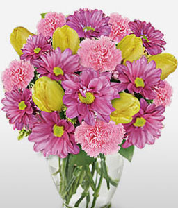Warwick-Pink,Yellow,Carnation,Chrysanthemum,Mixed Flower,Tulip,Bouquet