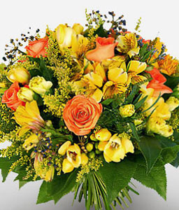 Amazon Mystery-Orange,Yellow,Mixed Flower,Gerbera,Daisy,Rose,Bouquet