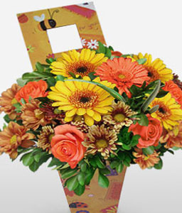 Picture Perfect-Green,Mixed,Peach,Yellow,Daisy,Gerbera,Mixed Flower,Rose,Arrangement