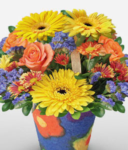 Panagbenga-Blue,Mixed,Peach,Yellow,Chrysanthemum,Daisy,Gerbera,Mixed Flower,Rose,Arrangement