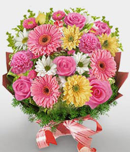 Pink Fresh Flowers-Mixed,Pink,White,Yellow,Carnation,Daisy,Gerbera,Mixed Flower,Rose,Bouquet