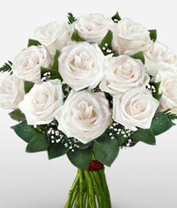Beautiful White Roses <Br><Font Color=Red>One Dozen Roses</Font>
