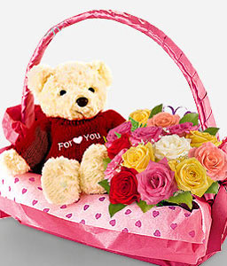 South Avenue-Mixed,Rose,Teddy,Arrangement,Basket,Hamper