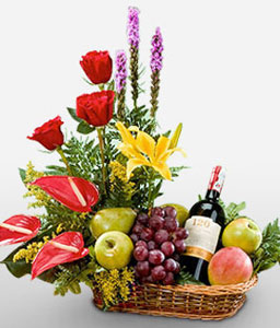 Extravagant Surprise-Fruit,Wine,Basket,Hamper