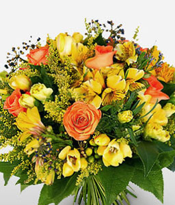 Sunshine Coast-Mixed,Orange,Yellow,Rose,Mixed Flower,Freesia,Alstroemeria,Bouquet