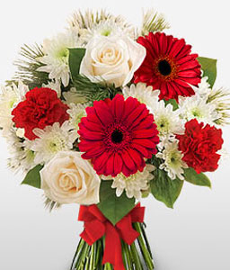 Christmas Flowers-Red,White,Chrysanthemum,Daisy,Gerbera,Mixed Flower,Rose,Bouquet