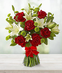 Magical Love - Red Roses & White Lilies Bouquet-Green,Mixed,Red,White,Rose,Lily,Chrysanthemum,Bouquet