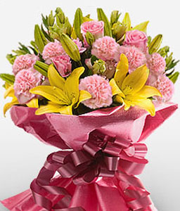 Exotic Xiamen-Mixed,Pink,Yellow,Carnation,Lily,Mixed Flower,Bouquet