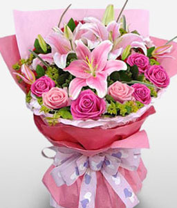 Ruby Delight-Pink,Lily,Rose,Bouquet