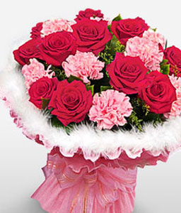 Blushing Romance-Mixed,Pink,Red,Carnation,Mixed Flower,Rose,Bouquet