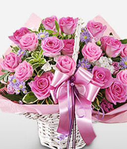 Two Dozen Pink Roses in Basket-Pink,Rose,Basket