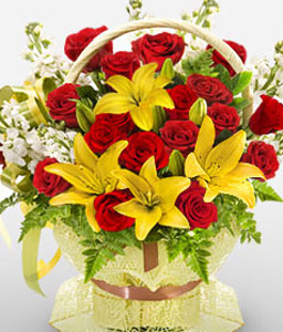 Lion Grove-Mixed,Red,Yellow,Lily,Mixed Flower,Rose,Bouquet