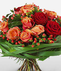 Valentines Flowers-Orange,Pink,Rose,Bouquet