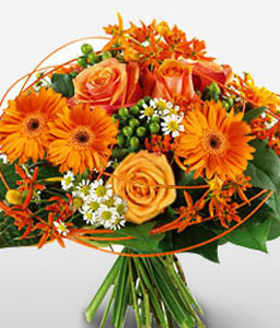Royal Radiance-Orange,Daisy,Gerbera,Rose,Bouquet