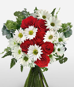 Runway Sucesso - Red Roses & White Daisies-Red,White,Rose,Daisy,Bouquet